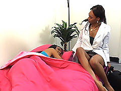 Black girl wakes up her girlfriend to dildo her wet pussy