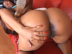 Black lesbians bounce their big butts during their threesome