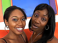 Ebony lesbos stick toys into each other
