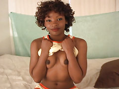 A petite ebony hottie getting fingered and sucking cock, Black Amateur Bjs