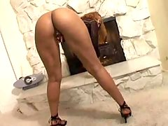 Ardent ebony babe gets deep massage